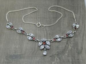"Antique Design Sterling Silver Red & White CZ Paste 17"" Pendant Necklace"