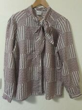 True Vintage Abstract Pussy Bow Tie Neckline Oversized Relaxed Blouse Top 12 14