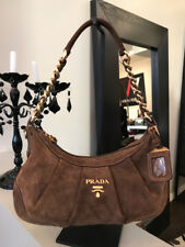 Prada Brown Suede Hobo Bag Gold Hardware Purse