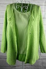 Norton Mcnaughton Ladies Cardigan Tank Size Large Green Linen Ramie Cotton