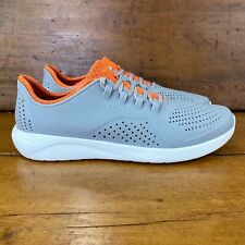 Crocs Men's Literide Pacer Sneaker Comfortable Tennis Shoes Size 11 Gray/Orange