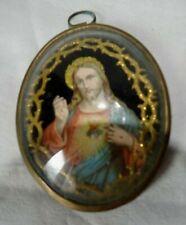 Médaillon Ancien Religieux Verre Bombé  Reliquaire Christ Sacre Coeur
