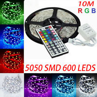 12V 5050 RGB 10M 600 LEDS SMD LED Strip Light Lamp + 44 KEY IR Remote Controller