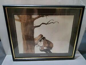 "Gary Patterson ""Frustration"" Golf Print Framed 17x20 Sepia 1970s Artwork"