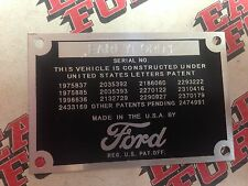 Stamped Ford Pickup Truck DATA PLATE  1948 1949 1950 1951 1952
