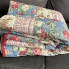 Cabbage Roses Patchwork Block Quilt Red Plaid Blue Stripes Pink Floral 84'x84'