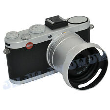 Silver 2in1 49mm Filter Lens Adapter & Mental Vented Lens Hood for LEICA X1 X2