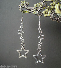 Lovely Shooting Stars Dangly Silver Plated Earrings