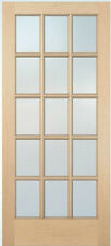 15 Lite Hemlock Stain Grade Solid Exterior Entry or Patio French Doors Wood Door