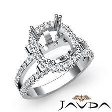 Diamond Engagement Ring Cushion Semi Mount 18k White Gold Halo Setting 1.53Ct