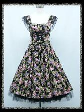 dress190 BLACK FLORAL 50s CAP SLEEVE CORSET ROCKABILLY PROM PARTY DRESS UK 14-16