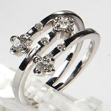 New DIAMOND COCKTAIL RING UNIQUE 18K Solid White GOLD 0.18TCW H/SI size 6.5