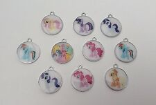 10 X My Little Pony Round Metal Enamel Charms Pendants Random NEW Mixed Colours