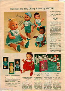 1964 ADVERT Mattel Tiny Chatty Babies Baby Brother Doll Betsy Wetsy Spank Me