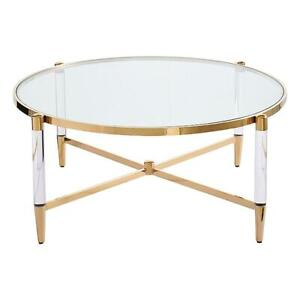 Floating Round Gold Coffee Table with Glass top Round glass coffee table 100x100