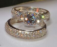 2CT White D/VVS1 Diamond Ring Bridal Set Engagement Ring 14k White Solid Gold FN