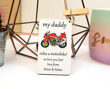 Personalised Wooden Keyring, Motorbike, Daddy, Dad, Grandad, Gifts, Fathers day