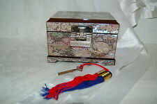 Lacquer Ware Inlaid Mother of Pearl Wood Jewelry Box W/ Lock & Key