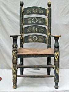 Antique Mexican Painted Wood Arm Chair c.1910