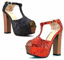 Scarpe donna tacco decoltè spuntate con plateau e glitter decolletè brillantini