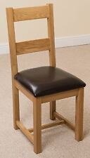 Lincoln Solid Oak Light Wood Tone & Brown Bonded Leather Dining Chair Furniture