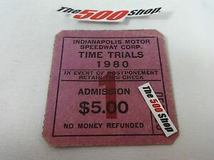 1980 Indianapolis 500 Time Trials Admission Ticket Qualifications Gate 1