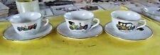 Ancien service café thé 3 tasses & sous-tasses porcelaine  Vieux taco