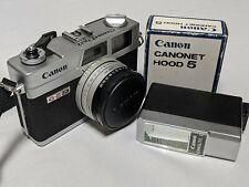 Vintage Canon Canonet QL17 w/40mm 1:1.7 Lens, Canolite D flash/Hood 5 RARE Japan