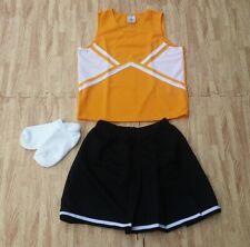 "Adult Gold Black Cheerleader Uniform Top Skirt 32-34/22-25"" Cosplay Steelers New"