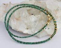 Natur Smaragd Kette Edelsteinkette facettierte Grün 925 Silber Edel Smaragdkette