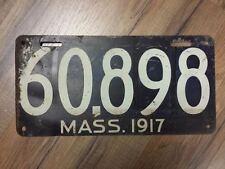Vintage 1917 MASSACHUSETTS Passenger License Plate (60898)