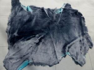 sheepskin shearling leather hide Steel Blue Silky w/Turquoise Blue Suede back