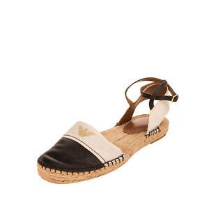 RRP€185 EMPORIO ARMANI Leather & Raffia Espadrille Shoes 39 UK6 US8 Ankle Strap