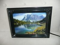 """Vintage Moving Picture Lamp W Sound Mountain Lake Nature Scene 9"""" x 12"""" NEW"""
