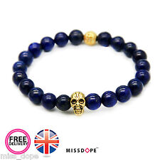 NEW Gold Skull Navy Bead Bracelet Womens Mens Reiki Goth Bangle Unisex UK