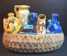 Edmond Lachenal Pottery Imitation Wicker Panier Basket Containing 8 Vases