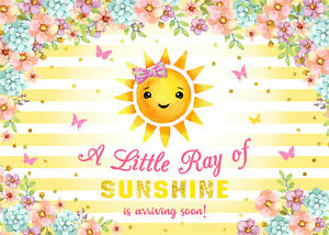 7x5ft Baby Shower Floral Sunshine Butterfly Vinyl Backdrop Photo Background LB