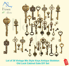 Lot of 38 Vintage Mix Style Keys Antique Skeleton Old Lock Cabinet Gate DIY Set