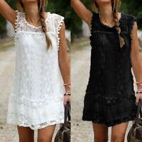 Summer Women Lace Sheer Mini Dresses Ladies Sleeveless Beach Wear Sundress Party
