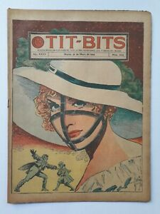 THE GIRL WITH THE IRON MUZZLE! - TIT-BITS #1823 (1944) - ORIG. COMIC IN SPANISH