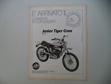 advertising Pubblicità 1972 MOTO GARELLI JUNIOR TIGER CROSS 50