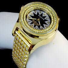 Geniune Diamond Yellow GoldFinish JoJino/Joe Rodeo 2 Row Bezel Custom Band Watch
