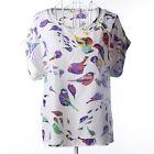 Womens Short Sleeve Chiffon T-shirt Baggy Summer Casual Sheer Top Shirt Blouse