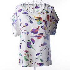 Women Chiffon Floral Print Short Sleeve Blouse T Shirt Summer Casual Loose Tees