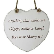 Wooden Heart Plaque - Anything that makes you giggle smile or laugh, buy it
