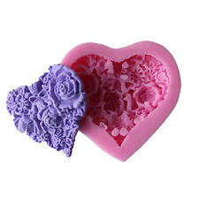 Mini Heart Rose Lace Silicone Soap Mould SugarCraft Fondant Mat Cake Decorative