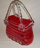 Hand Blown Studio Art Glass Purse Vase Handbag Planter Raspberry Murano Italian.
