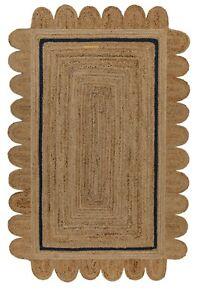 Scallop Jute Rug Natural Braided 100% Jute Rug Floor Carpet Home Decor Area Rug