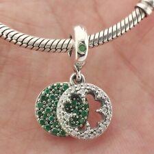 925 Sterling Silver Dazzling Clover Dangle Charm Green CZ Fit European Bracelet