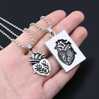 2Pcs/set Puzzle Anatomical Heart Couple Lovers Necklace Statement Jewelry GifYAN